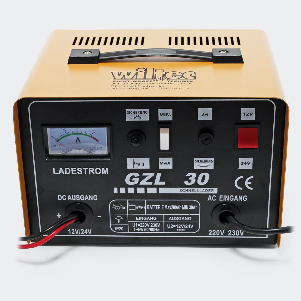 WilTec Batterieladegerät 16A Ladegerät Akkuladegerät 12V 24V GLZ30