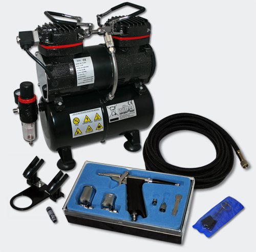 airbrush compressor set 4d with 1 gun as196 for beginners. Black Bedroom Furniture Sets. Home Design Ideas