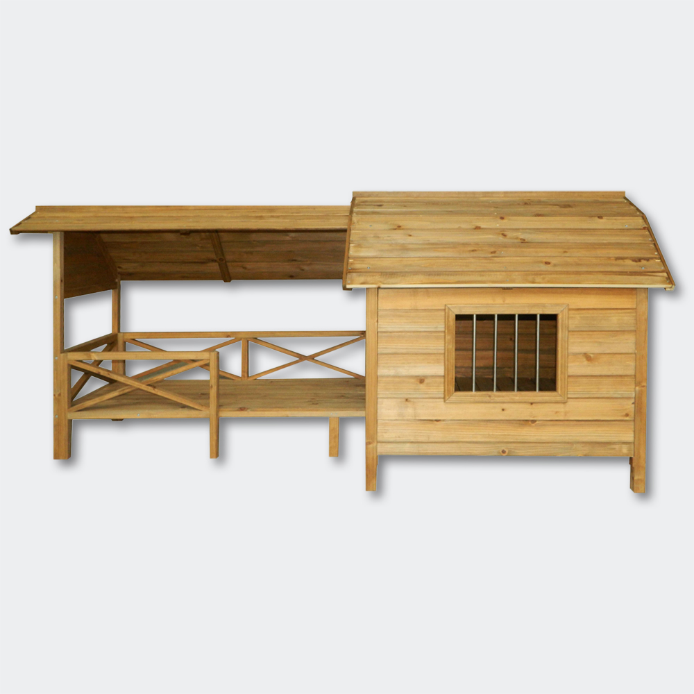 xxl hundeh tte hundehaus massiv holz mit balkon terasse lamellent re ebay. Black Bedroom Furniture Sets. Home Design Ideas