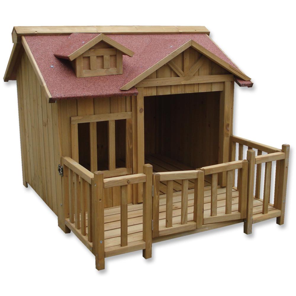 Luxury xl dog kennel dog house wood balcony garden veranda dog outdoor ebay - Luxury outdoor dog houses ...