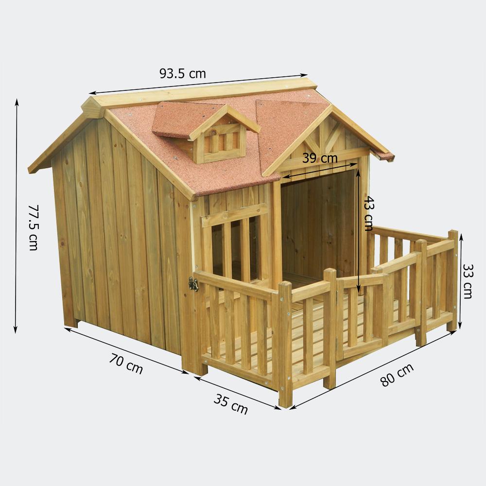 xl hundeh tte hundehaus massiv holz mit balkon terasse ebay. Black Bedroom Furniture Sets. Home Design Ideas