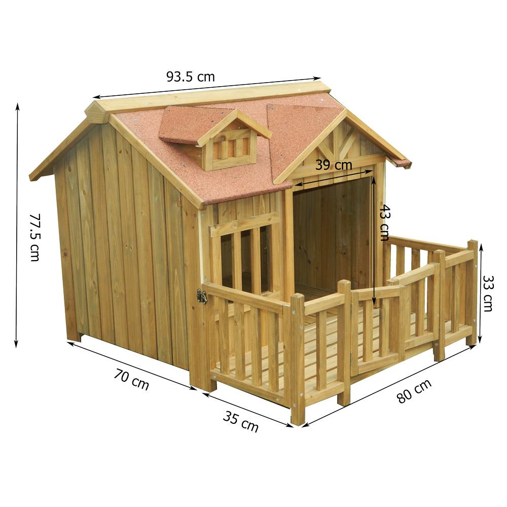 luxury xl dog kennel dog house wood balcony garden veranda. Black Bedroom Furniture Sets. Home Design Ideas