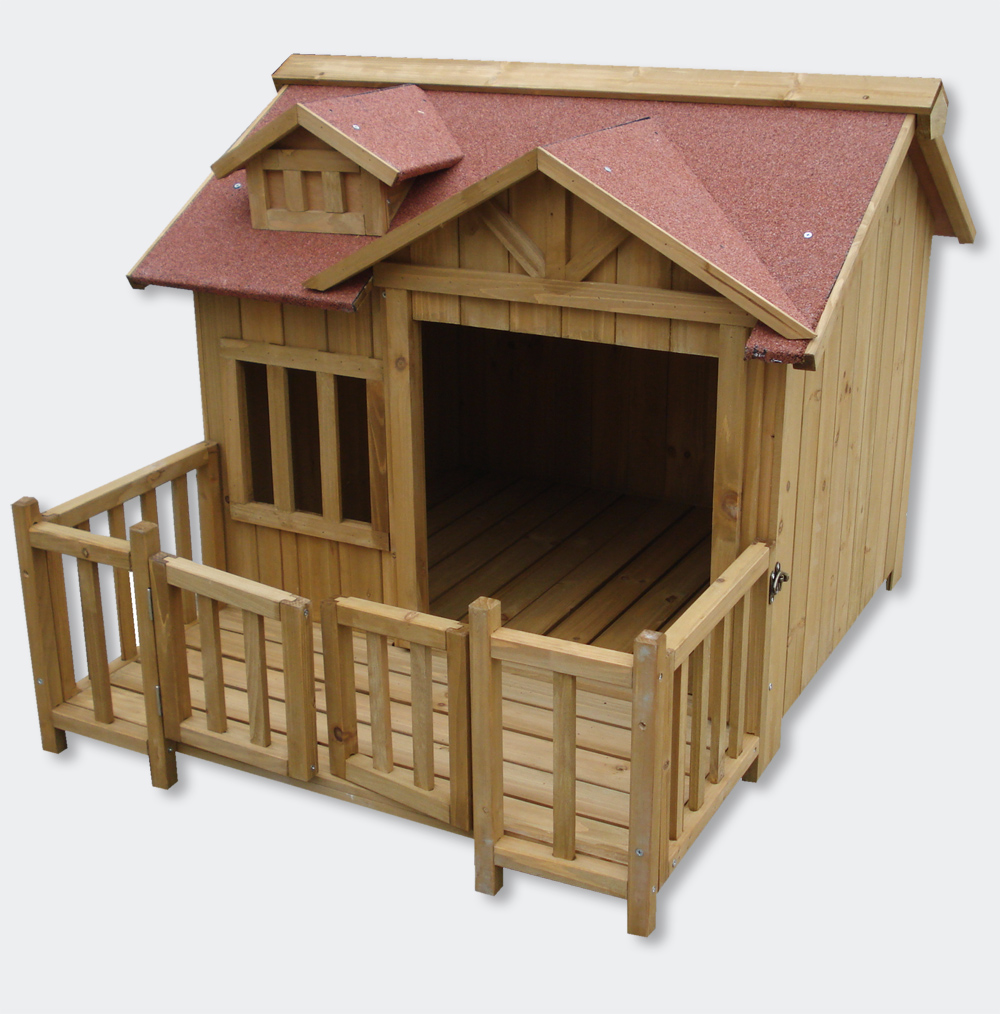 Wiltec xl outdoor dog kennel dog house with veranda for Xxl dog house