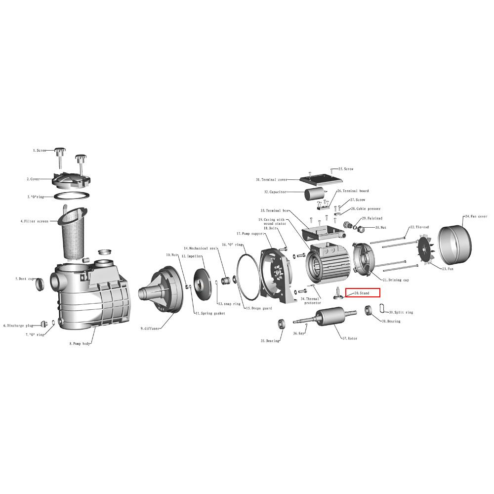 Pompe piscine c 1100 pied support moteur de rechange pompe for Moteur pompe piscine