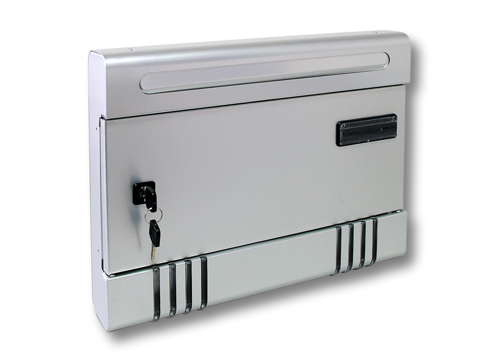 boite aux lettres aluminium argent porte nom boite murale beau design ebay. Black Bedroom Furniture Sets. Home Design Ideas