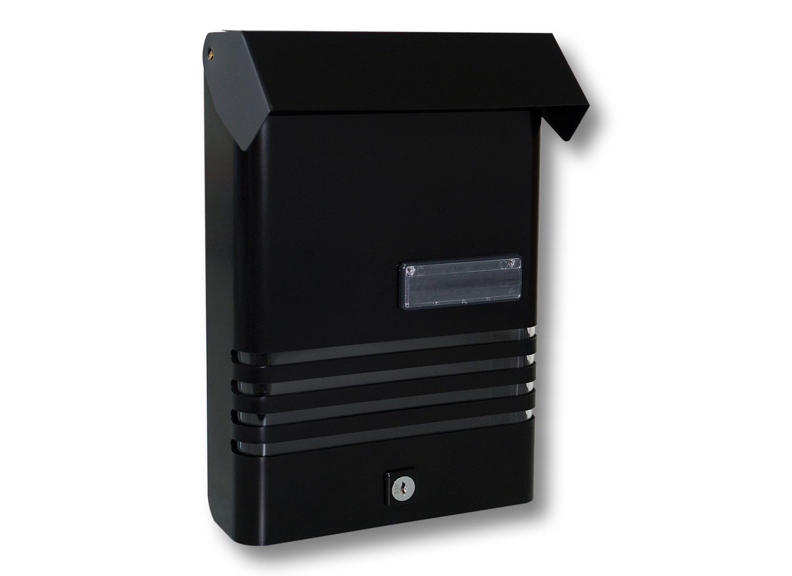 boite aux lettres aluminium noir porte nom boite murale. Black Bedroom Furniture Sets. Home Design Ideas