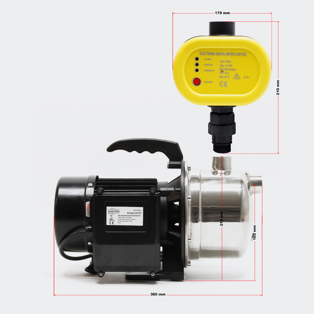 wiltec hauswasserwerk gartenpumpe wasserpumpe. Black Bedroom Furniture Sets. Home Design Ideas