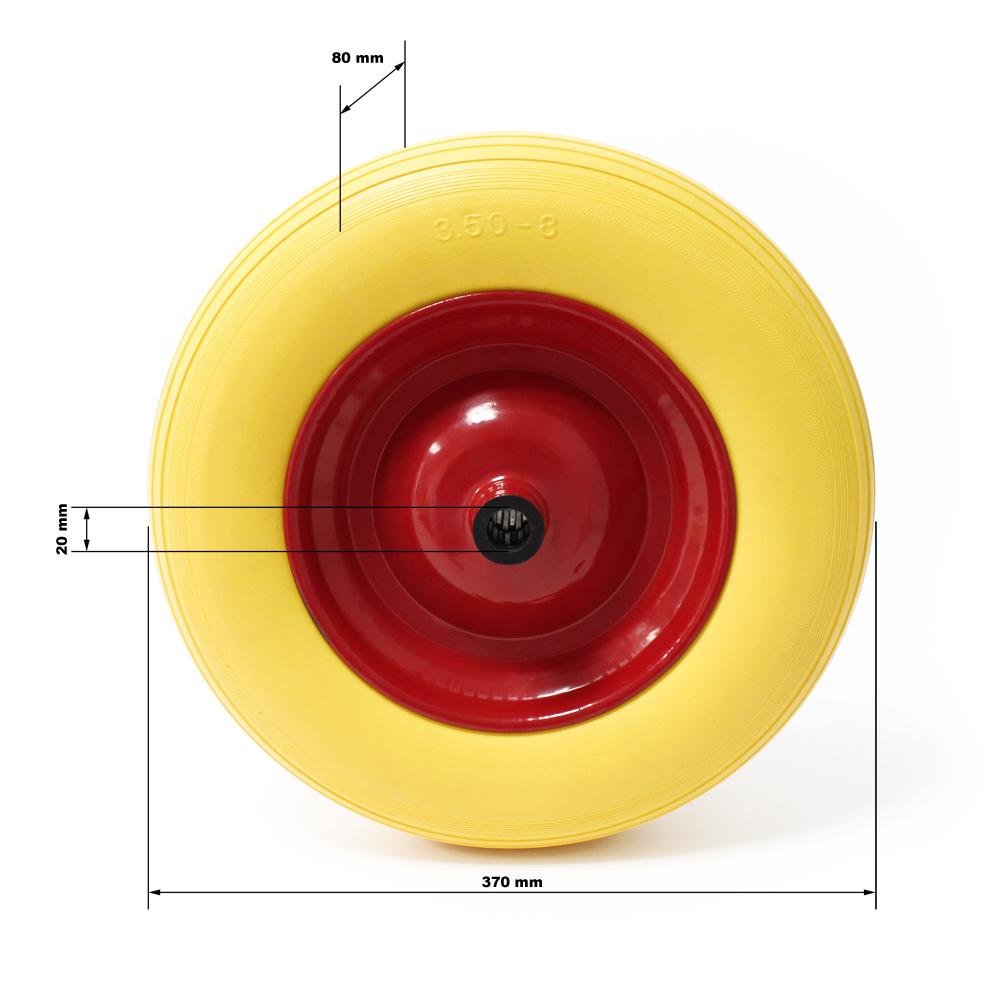 roue compl te de brouette en polyur thane increvable avec axe. Black Bedroom Furniture Sets. Home Design Ideas