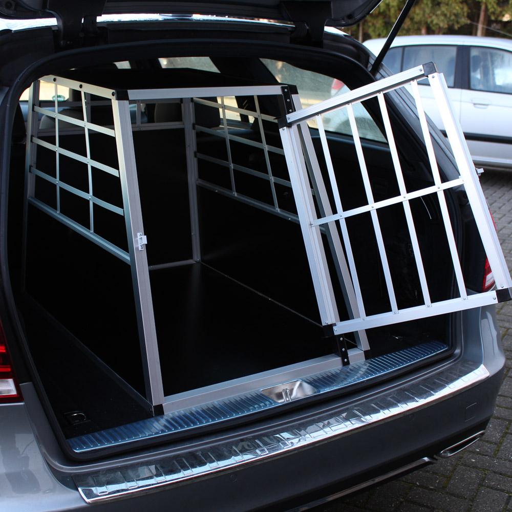 Mobile große Hundetransportbox, 1-türig, Aluminium und MDF
