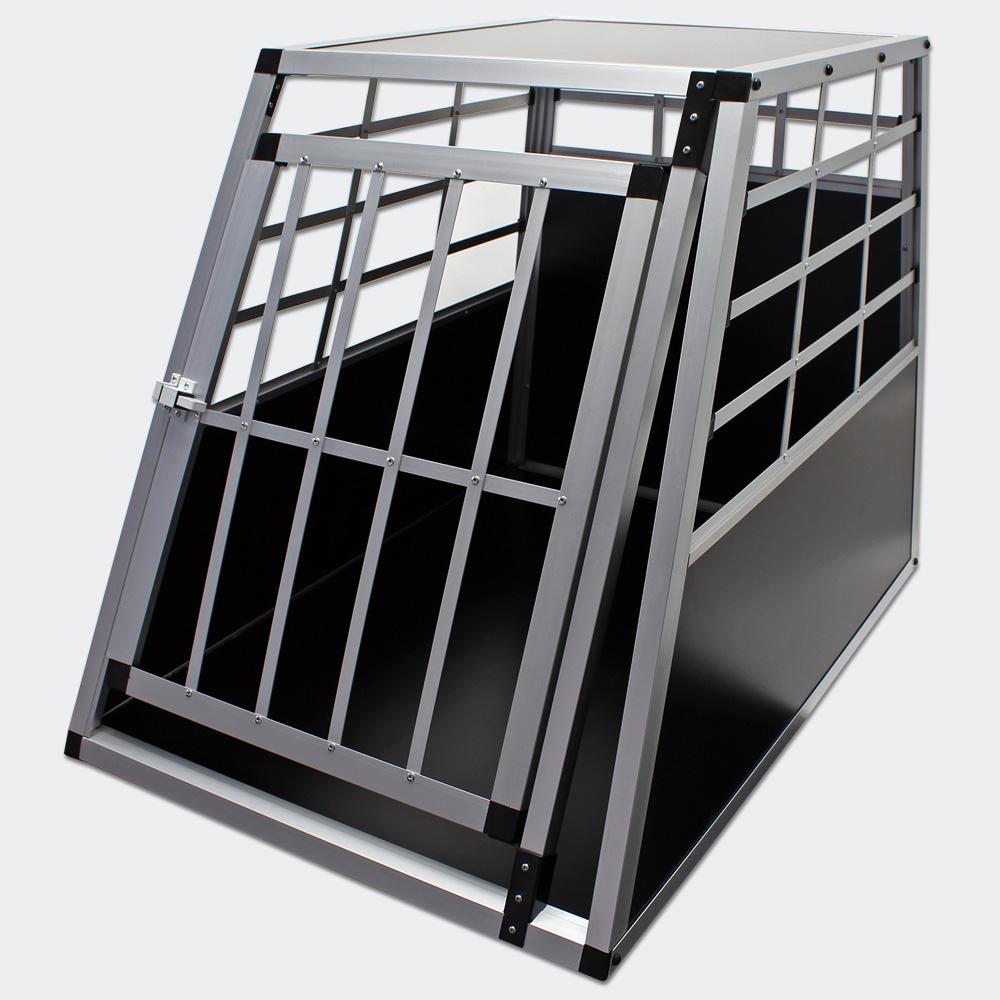 Mobile kleine Hundetransportbox, 1-türig, Aluminium und MDF