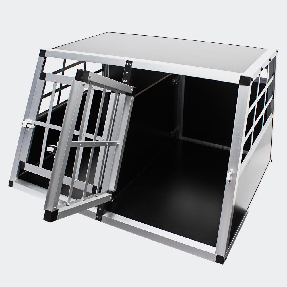 Mobile kleine Hundetransportbox, Doppeltürig, Aluminium und MDF