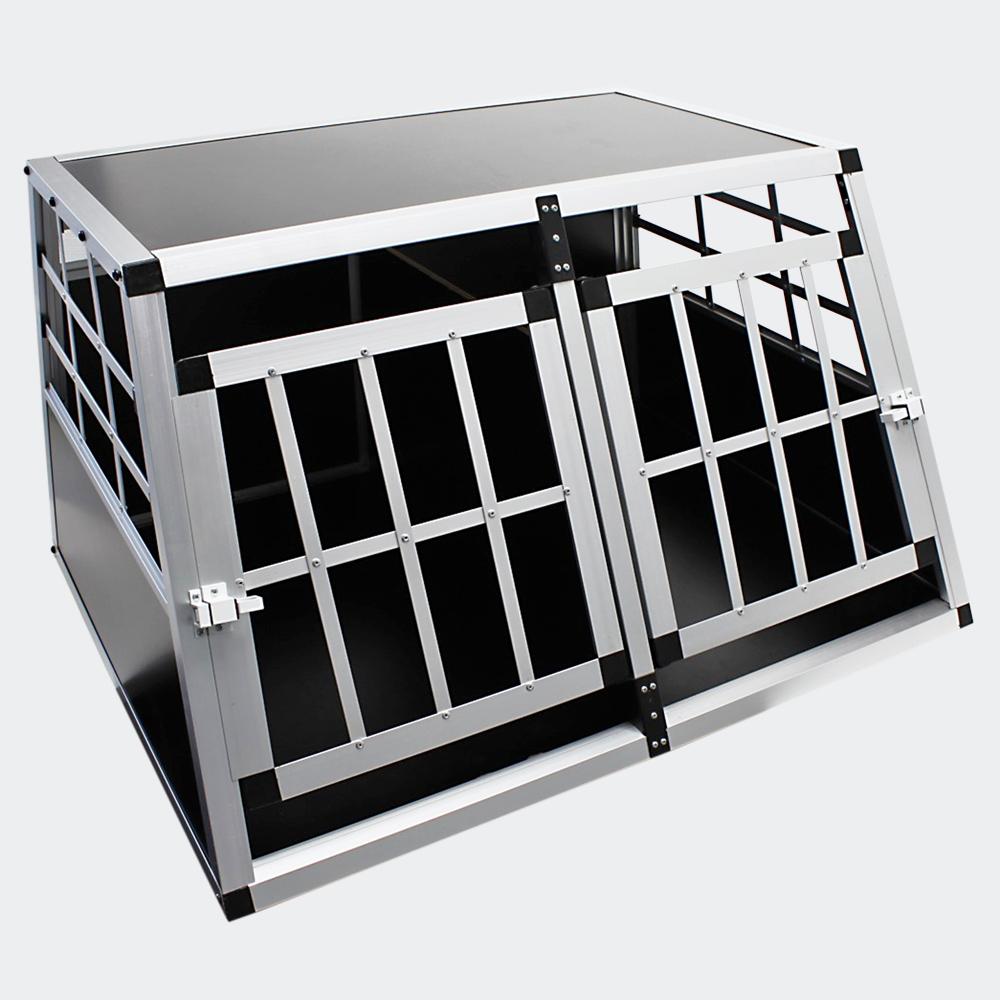 Mobile große Hundebox, Doppeltür, mit separater Trennwand, Aluminium