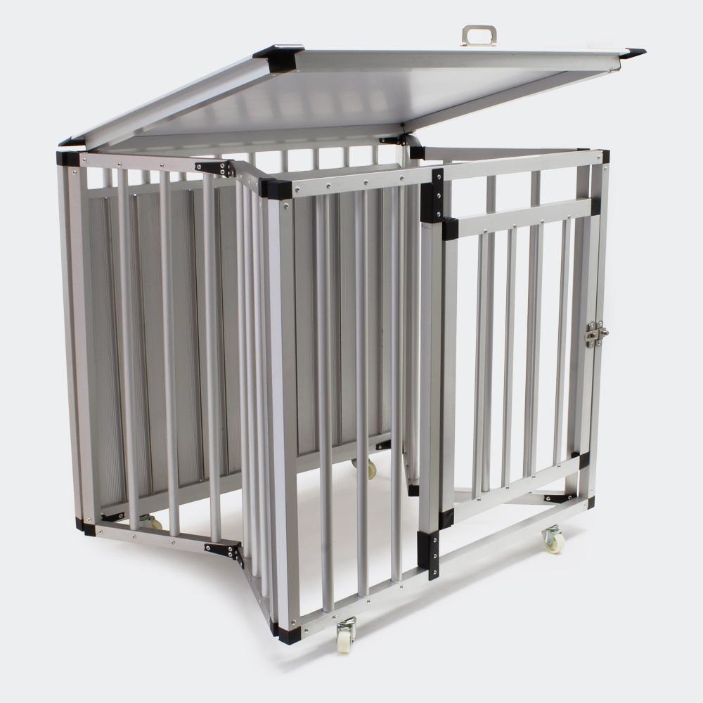 Mobile faltbare Hundetransportbox, Aluminium und MDF