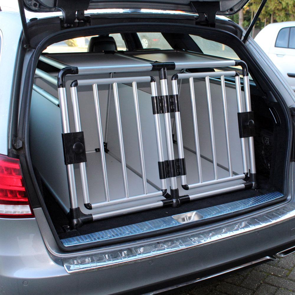 Mobile Hundebox doppeltürig mit separater Trennwand, Aluminium