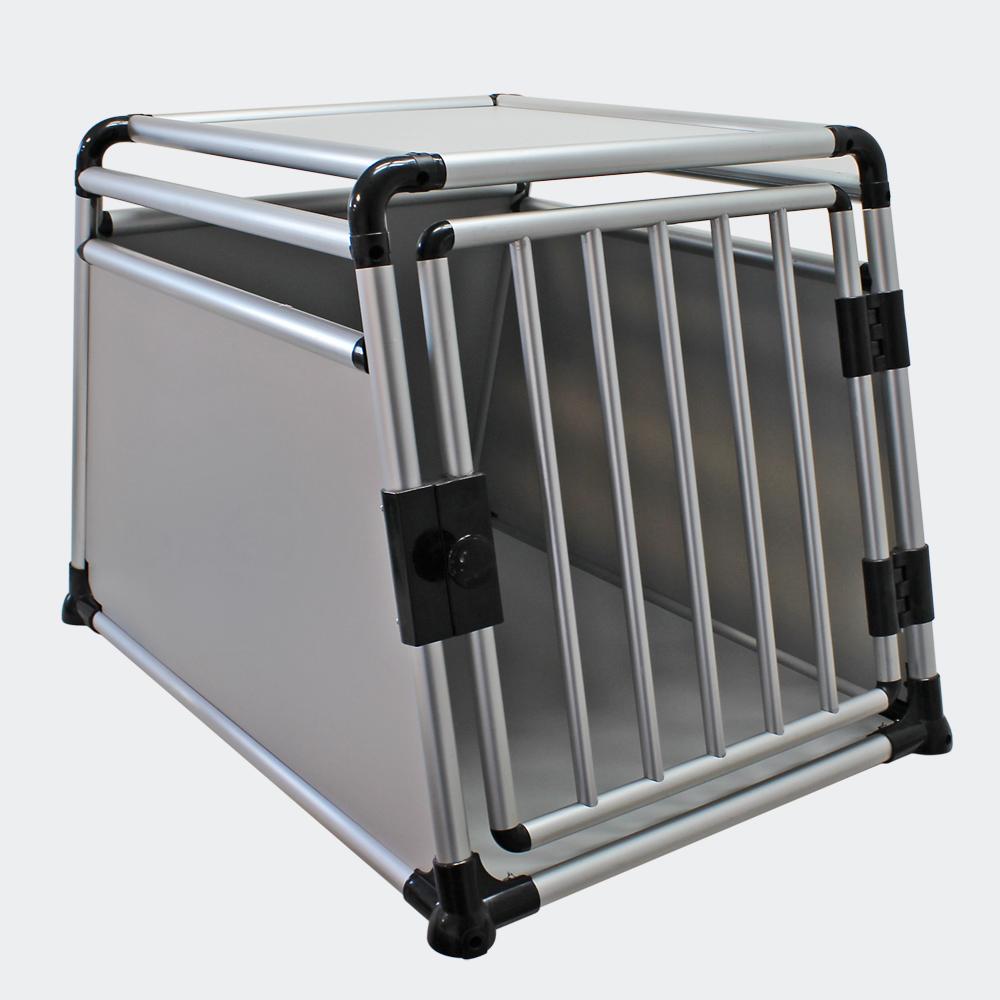 Mobile Hundetransportbox, 1-türig, Aluminium und MDF