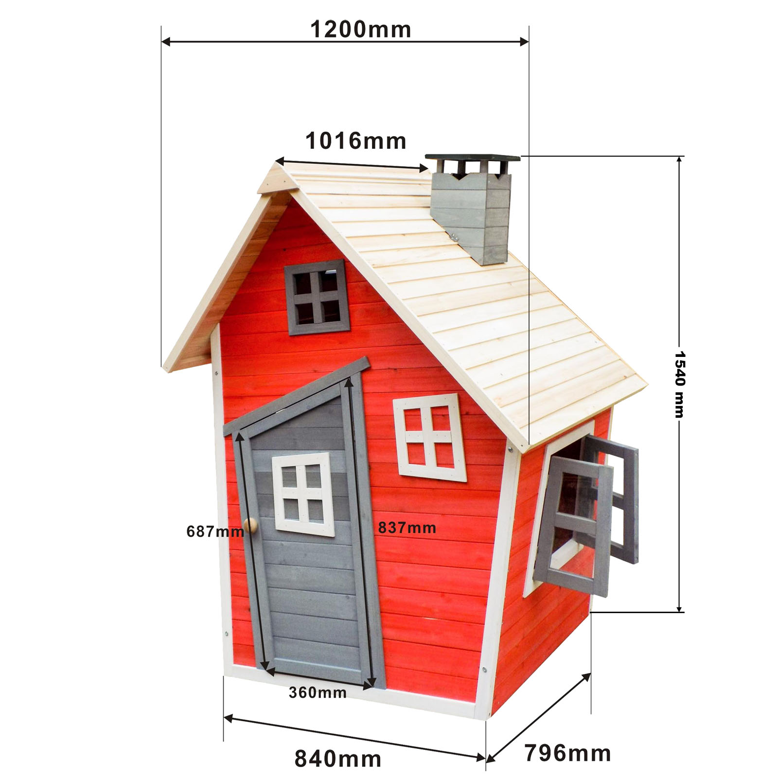 Eco friendly playhouse kids spruce wood wooden house for Jardin 2 niveaux
