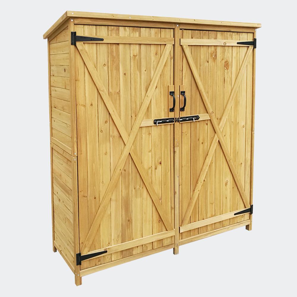 Gartenhaus 2-flügelige Tür, 1400x500x1620mm, Fichtenholz, Teerdach
