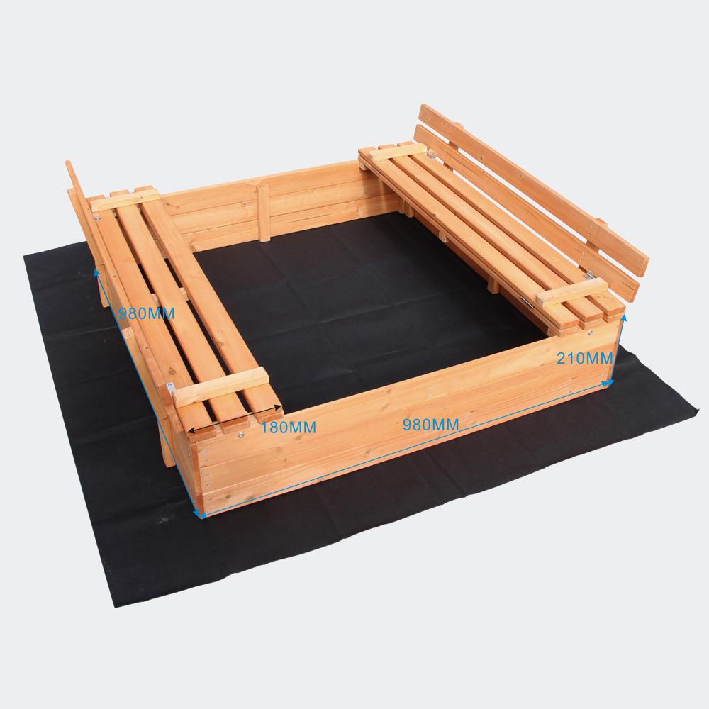 Sandkasten mit 2 Sitzbänken, 980x980x200mm, Fichtenholz, Vliesboden