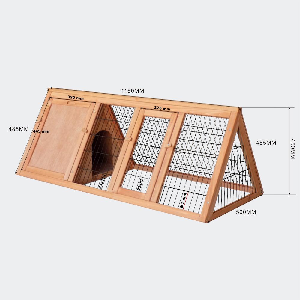 Hasenstall mit Freilauf für Bodenhaltung, Fichtenholz, 1180x500x450mm