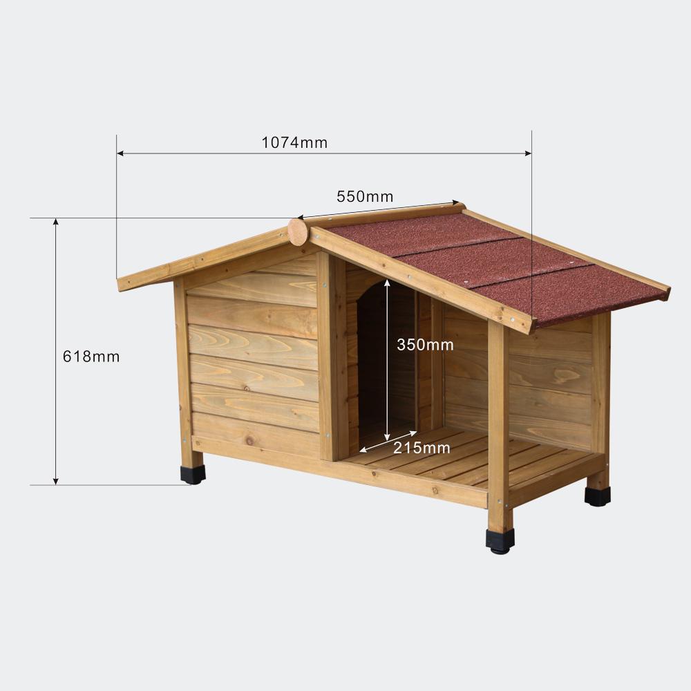Hundehütte mit Veranda, aus Fichtenholz, mit Teerdach, 1070x550x620mm