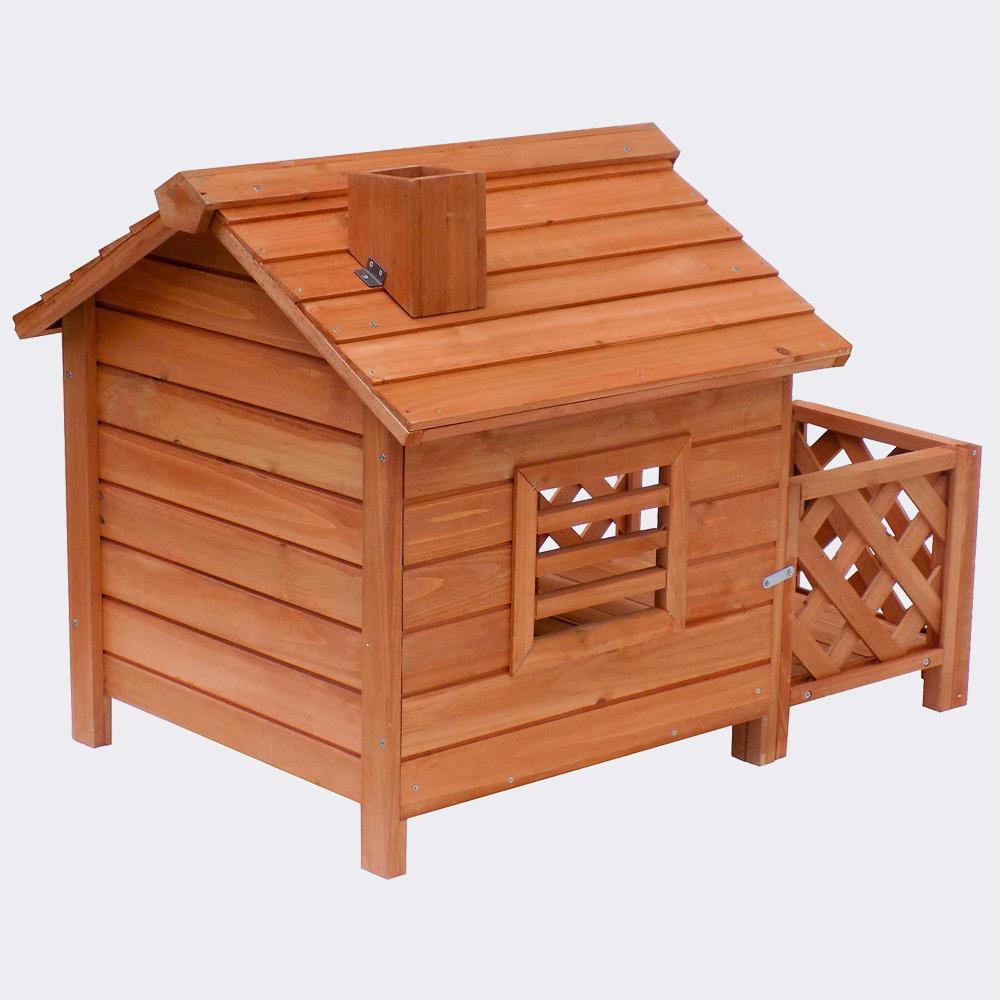 Hundehütte mit Veranda und Schornstein, aus Fichtenholz, 690x620x570mm