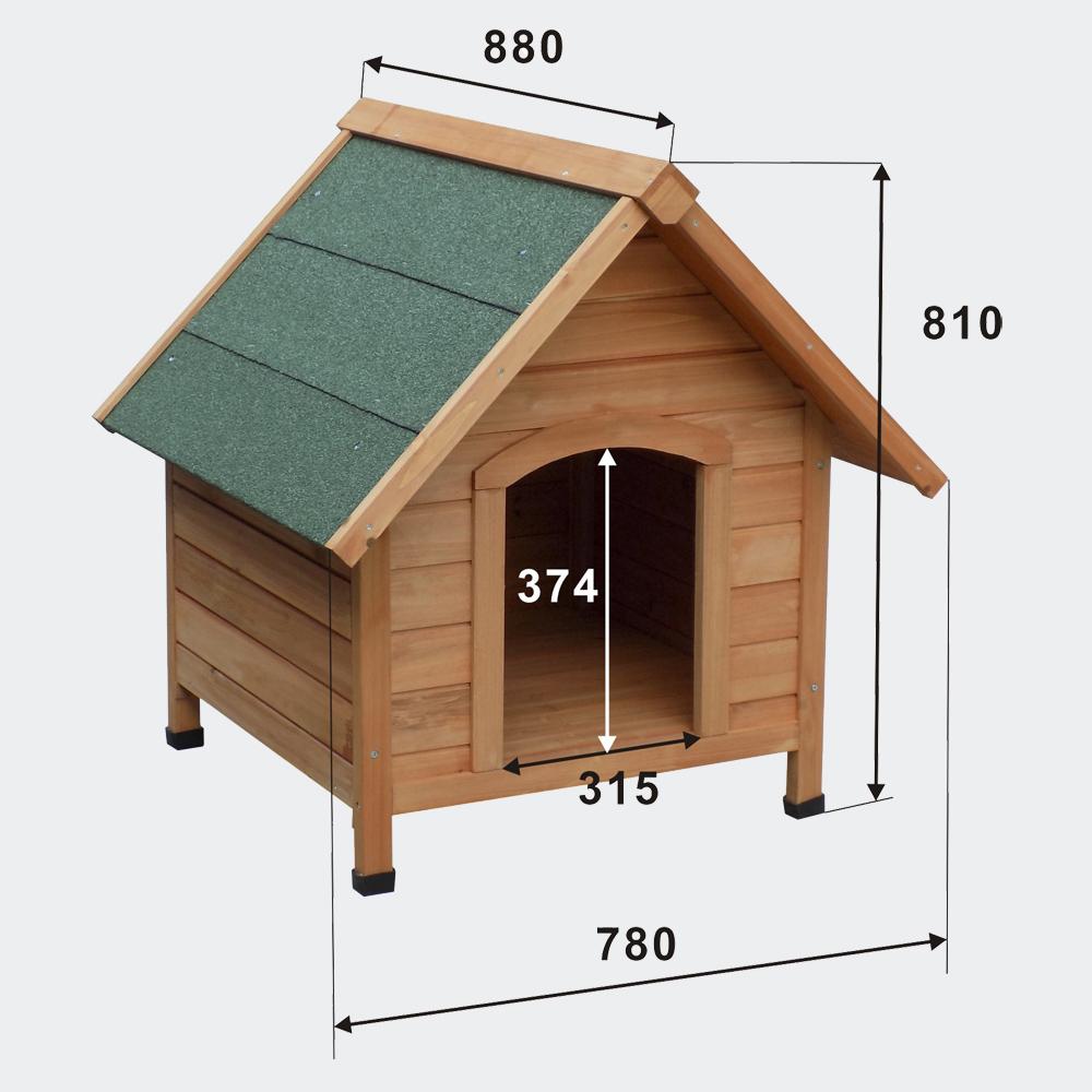 Hundehütte Hundehaus Tierhaus Fichtenholz Teerdach 780x820x760mm