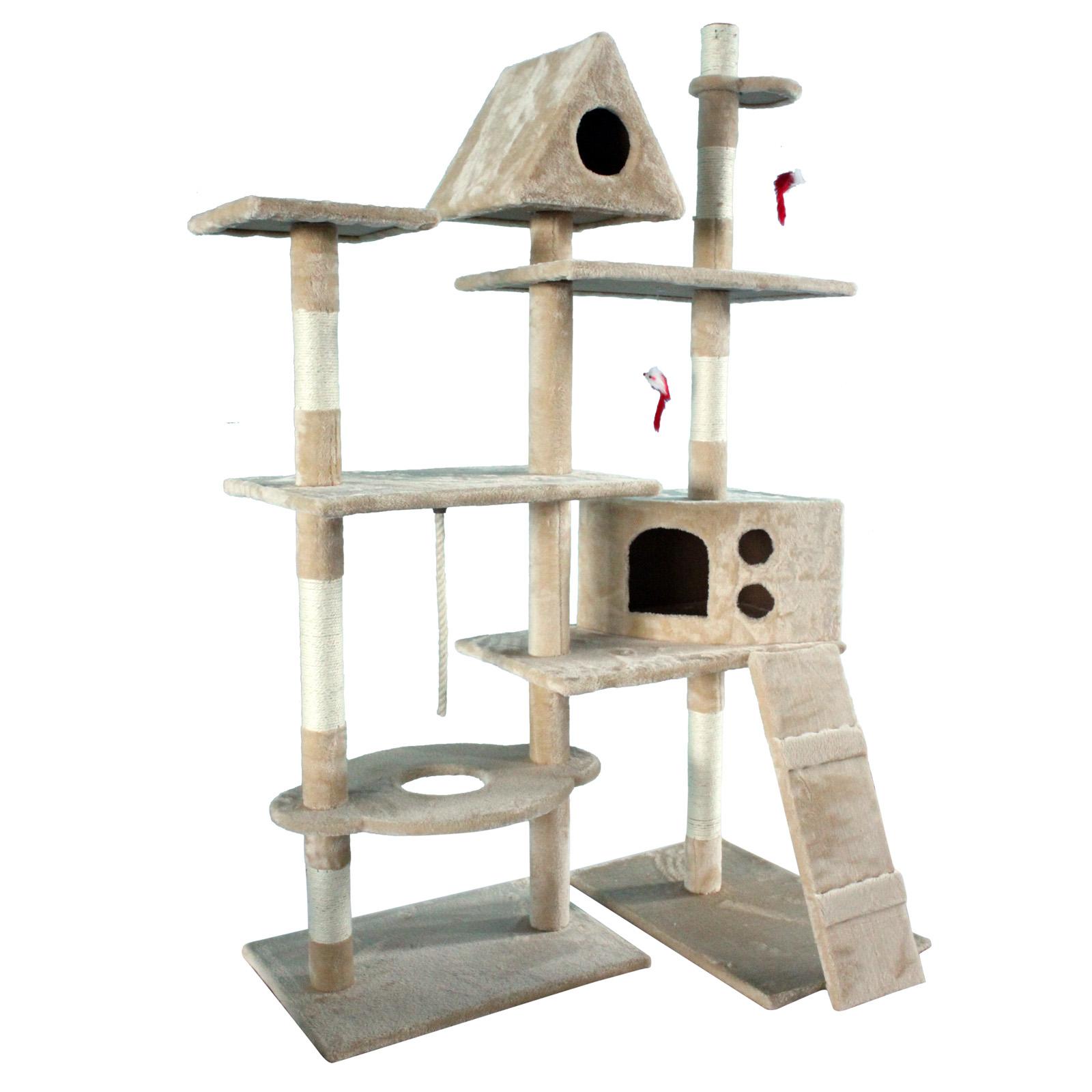 Tiragraffi per gatti beige albero per gatti cuccia a mezza for Piani di architetto domestico