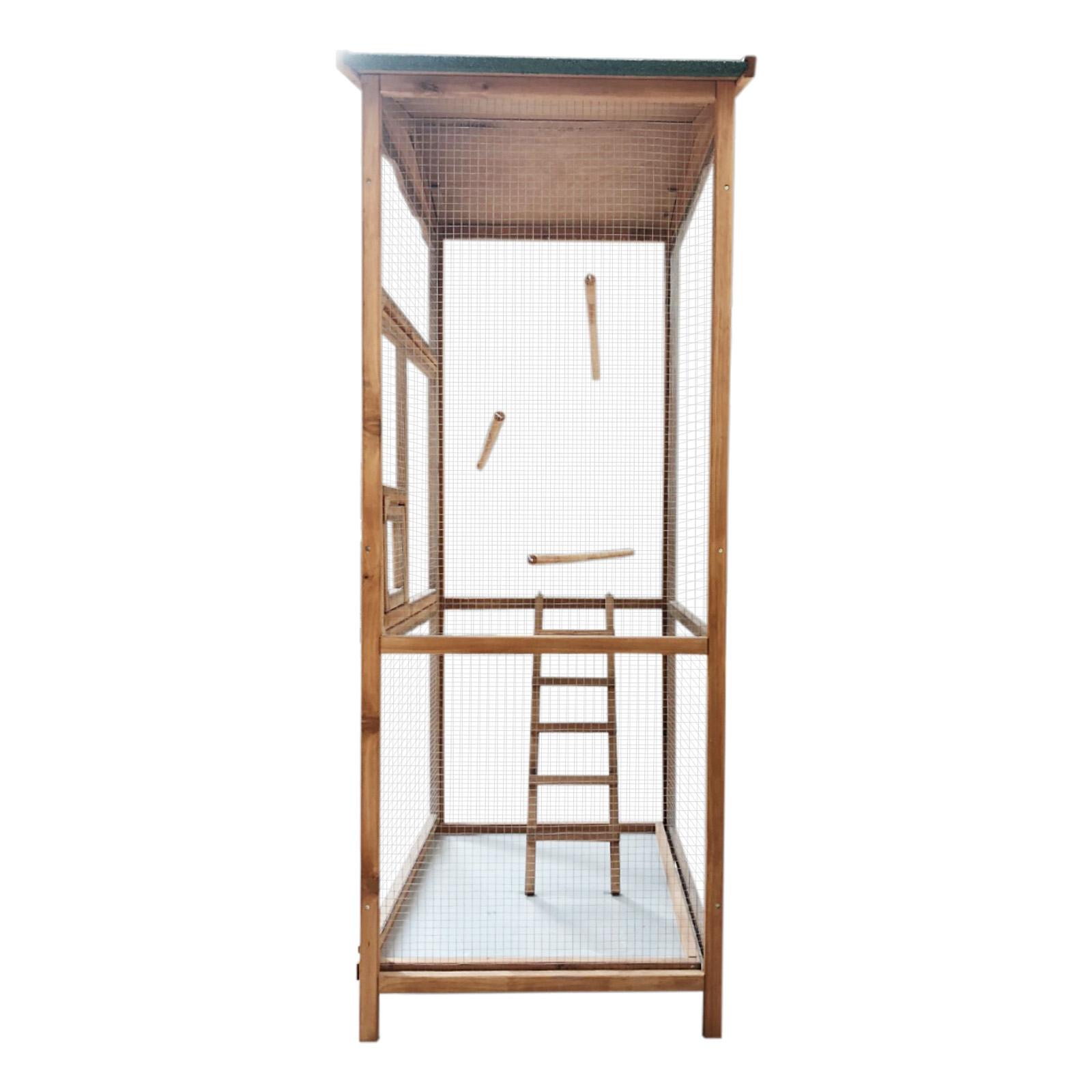 Voli re d oiseaux en bois cage oiseaux cage d animaux for Oiseau de voliere exterieur