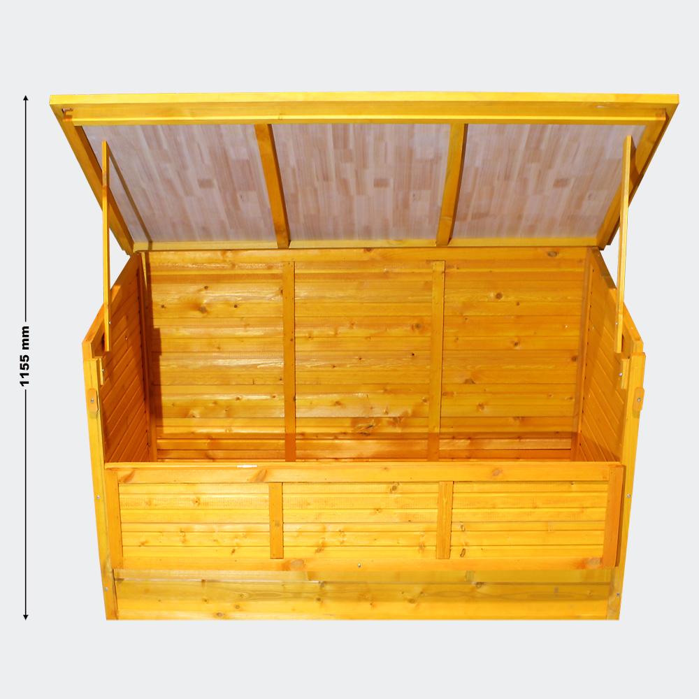 wiltec holzkiste f r kissenauflagen mit deckel kissenbox holz f r sitzauflagen auflagenbox. Black Bedroom Furniture Sets. Home Design Ideas