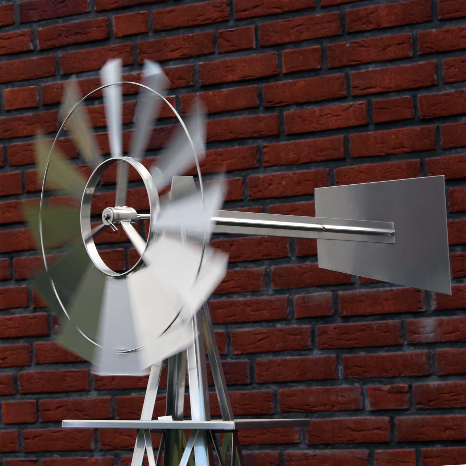 eolienne de jardin design us 245 cm argent moulin vent roulement bille ebay. Black Bedroom Furniture Sets. Home Design Ideas