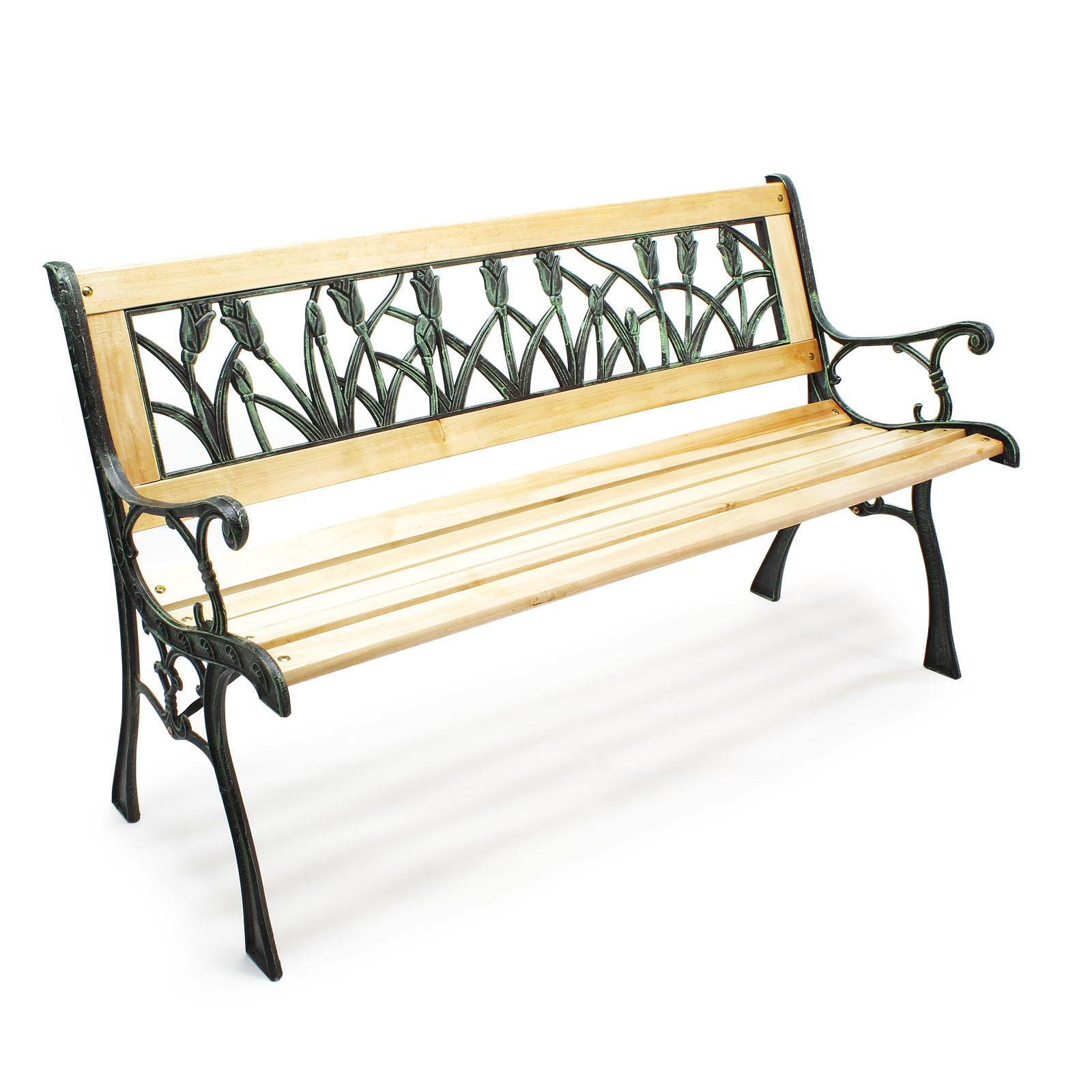 gartenbank parkbank ulrike holz gusseisen tulpendesign sitzbank zweisitzer bank ebay. Black Bedroom Furniture Sets. Home Design Ideas