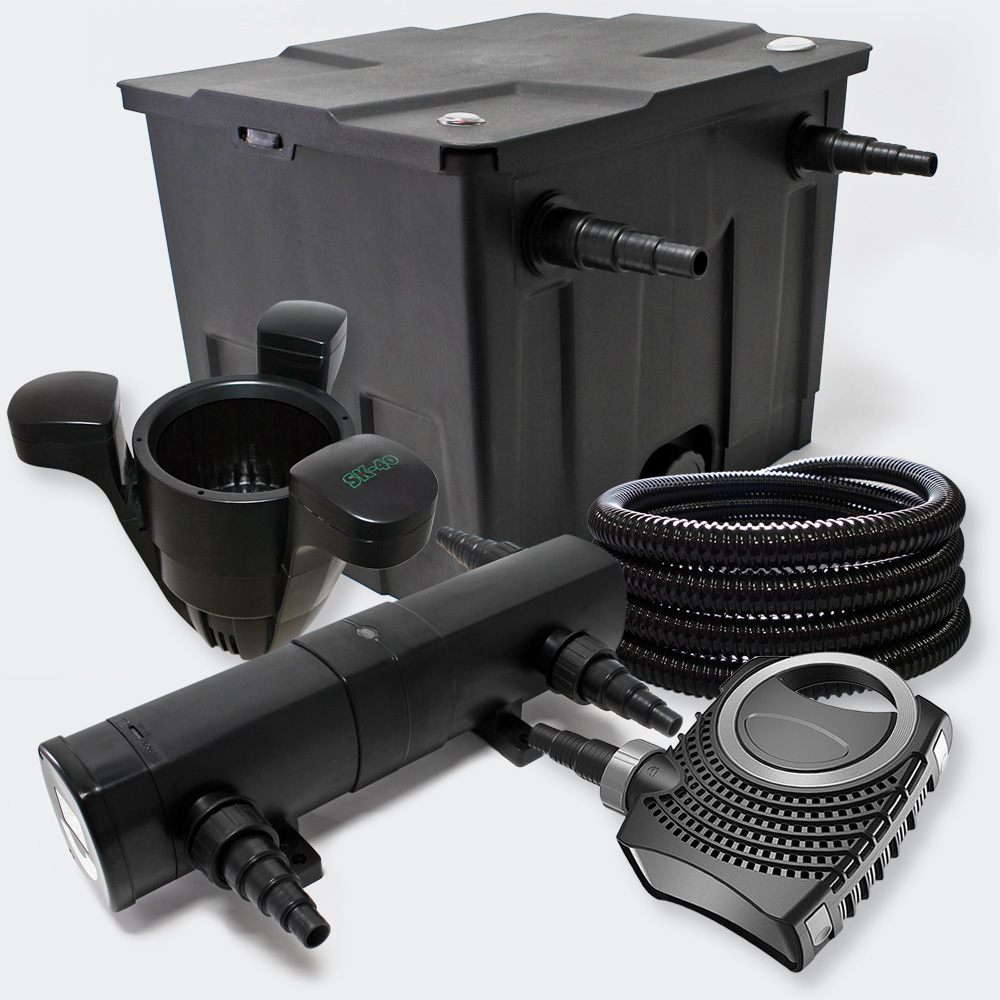 Wiltec filter set bio pond filter 12000l 24w uv for Set up pond filter system
