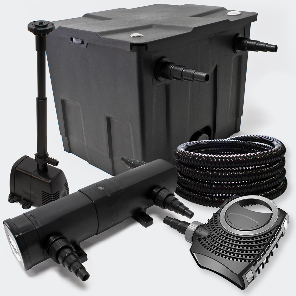 Wiltec pond filter set 12000l 36w uv clarifier supereco for Pond pump and filter sets
