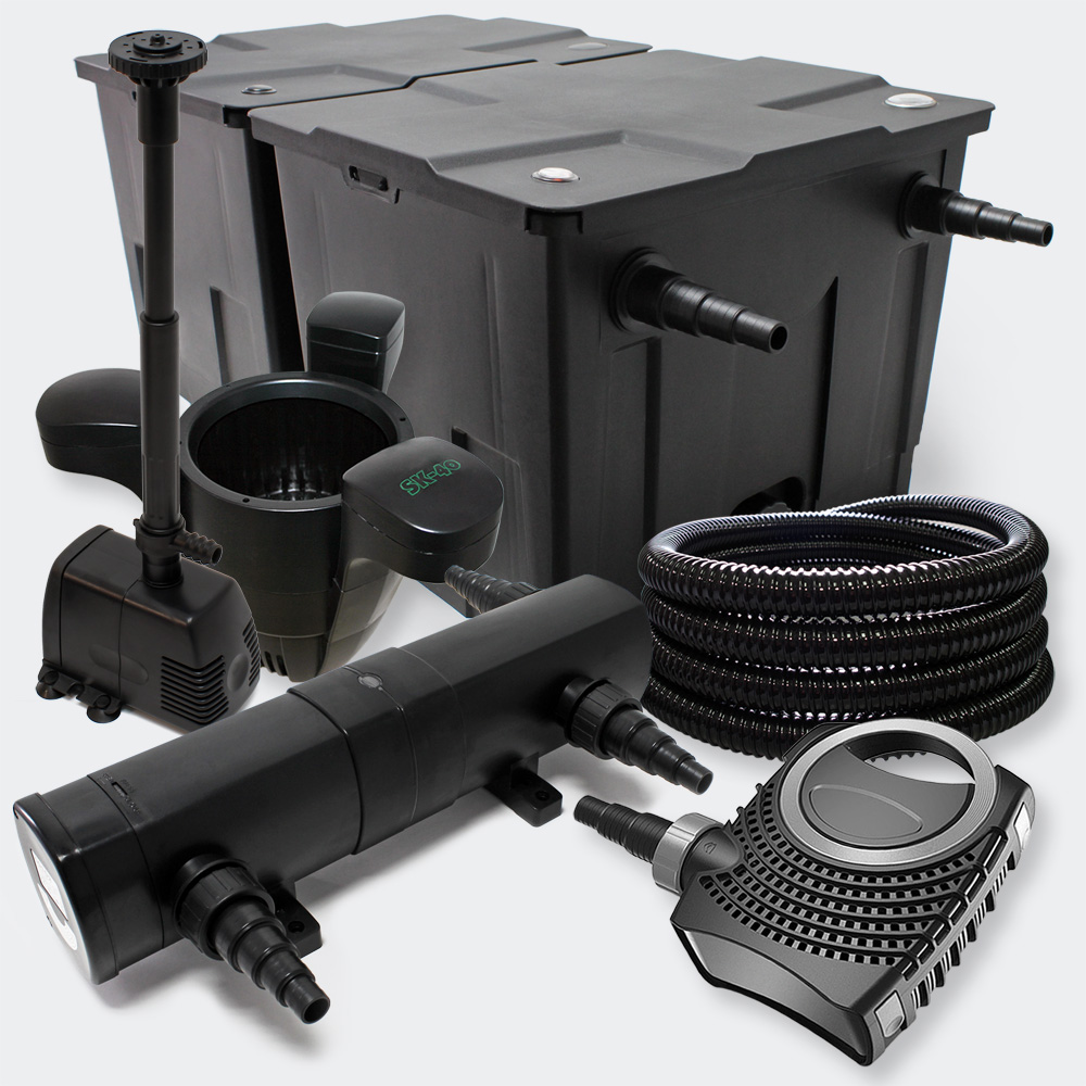 Wiltec filter set pond filter 60000l 24w uv sterilizer for Pond skimmer filter