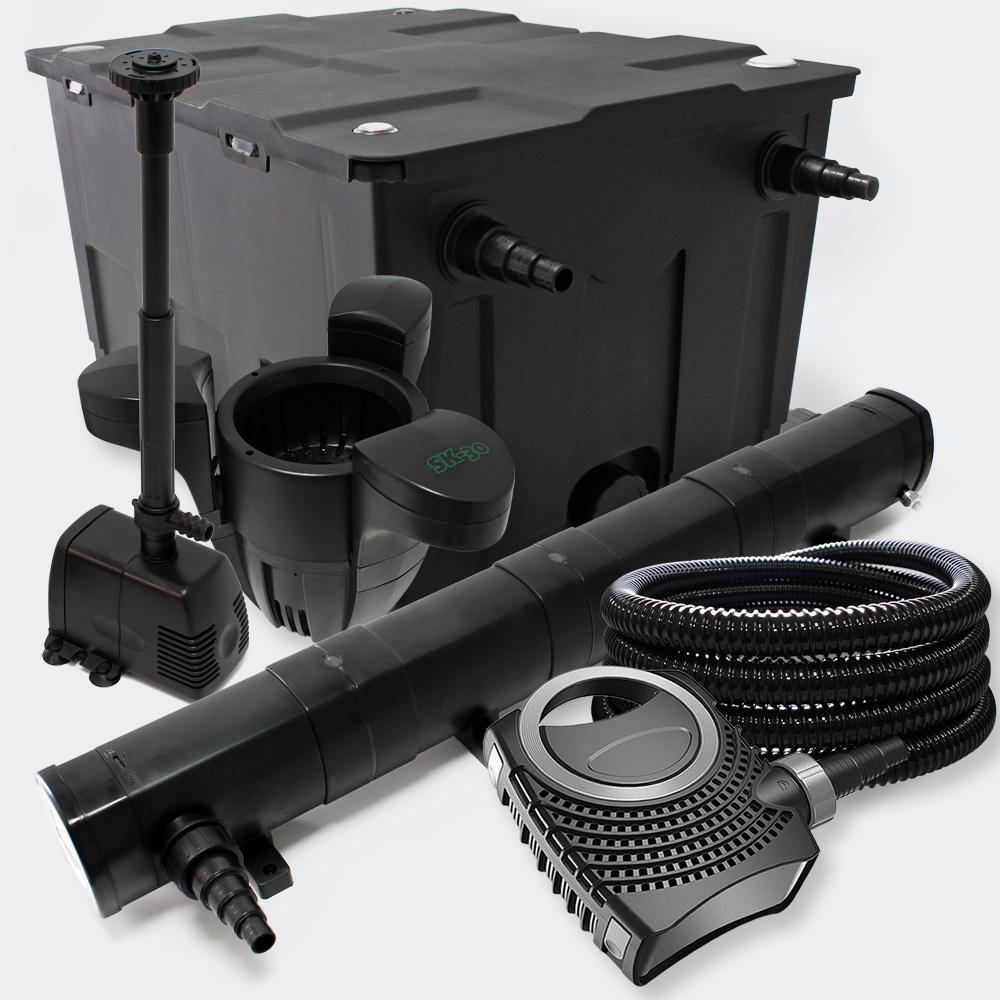 Wiltec Filter Set Pond Filter 60000l 72w Uv Sterilizer Pump Fountain Skimmer Filter Set Pond