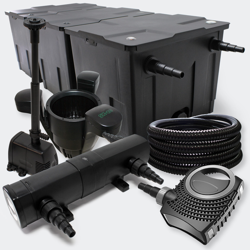 Wiltec filter set pond filter 90000l 24w uvclarifier for Set up pond filter system