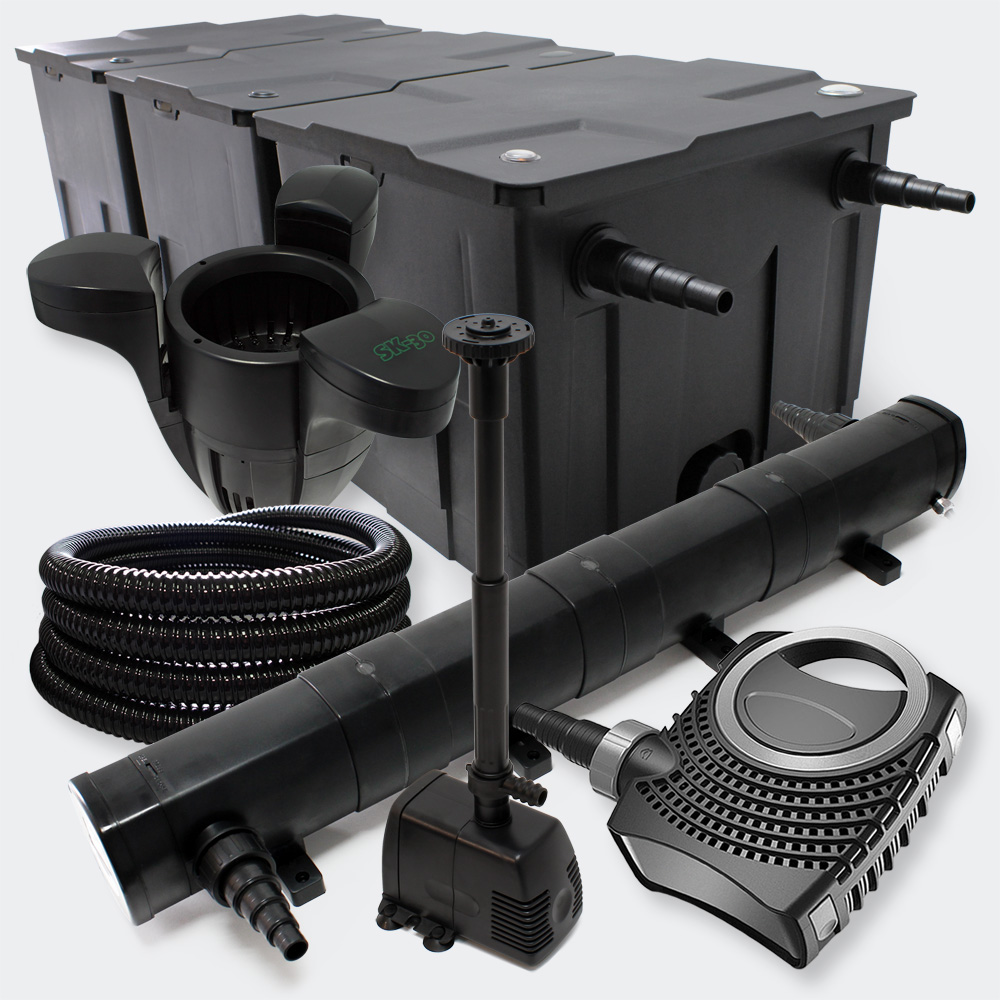 Wiltec filter set pond filter 90000l 72w uvc clarifier for Pond filter setup