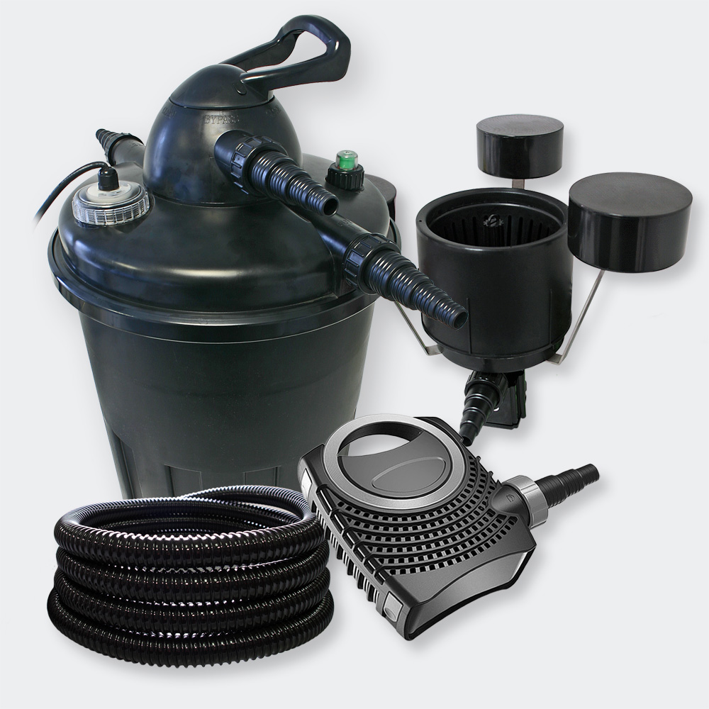 Wiltec filter set pressure filter 15000l 24w uv for Pond pump with uv filter