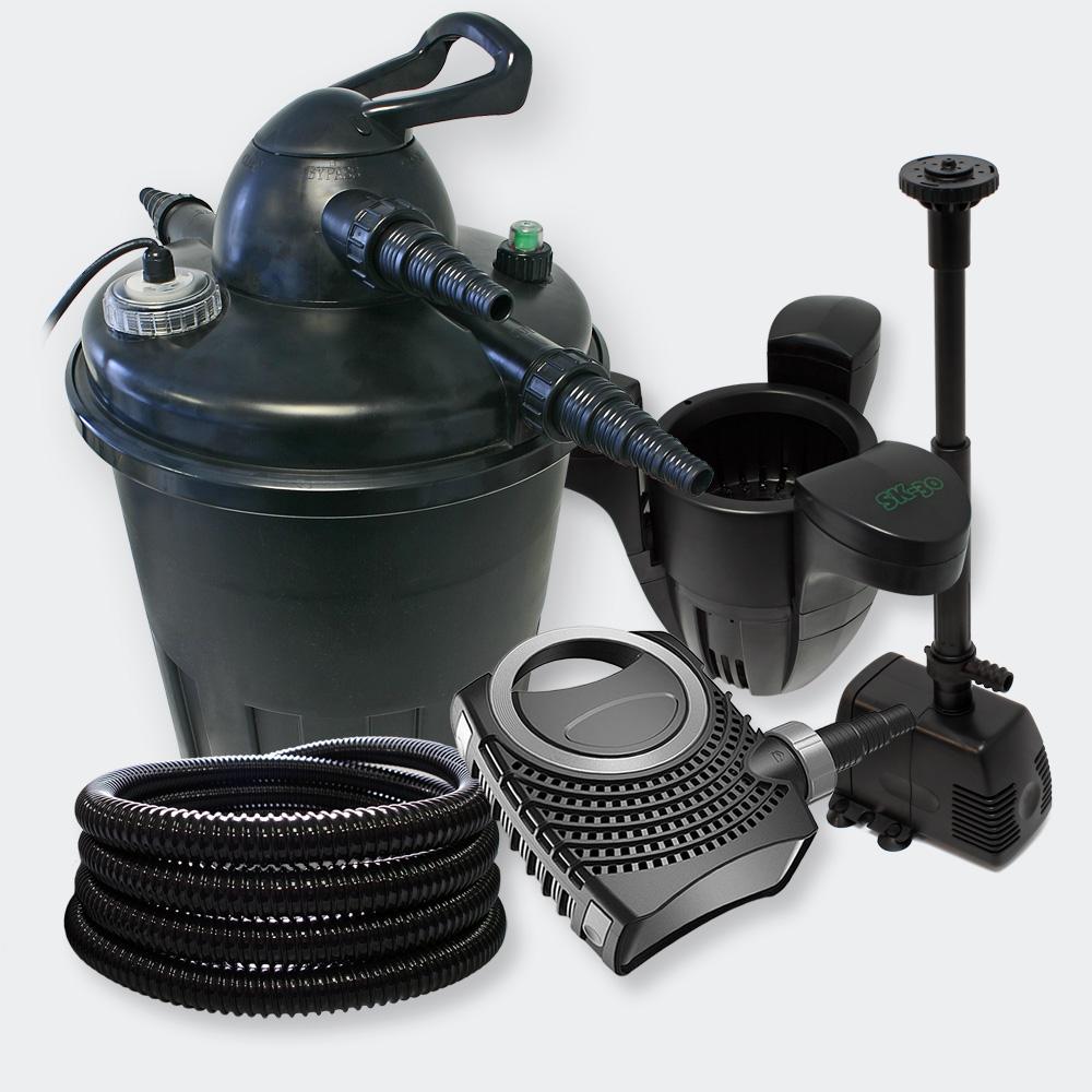 Wiltec filter set pressure filter 15000l 24w clarifier for Pond pump and filter sets