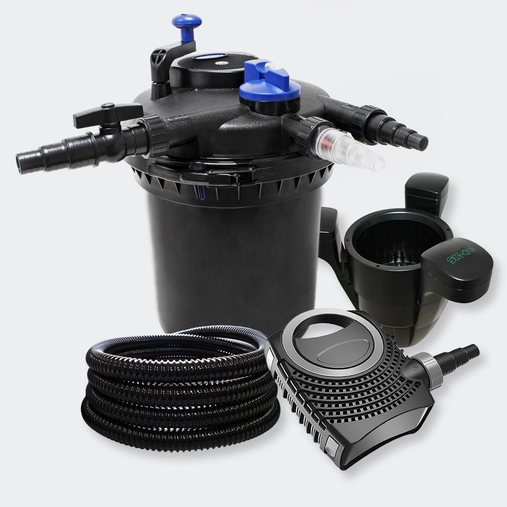 Wiltec pressure filter set 30000l 18w uvc clarifier pond for Pond skimmer filter