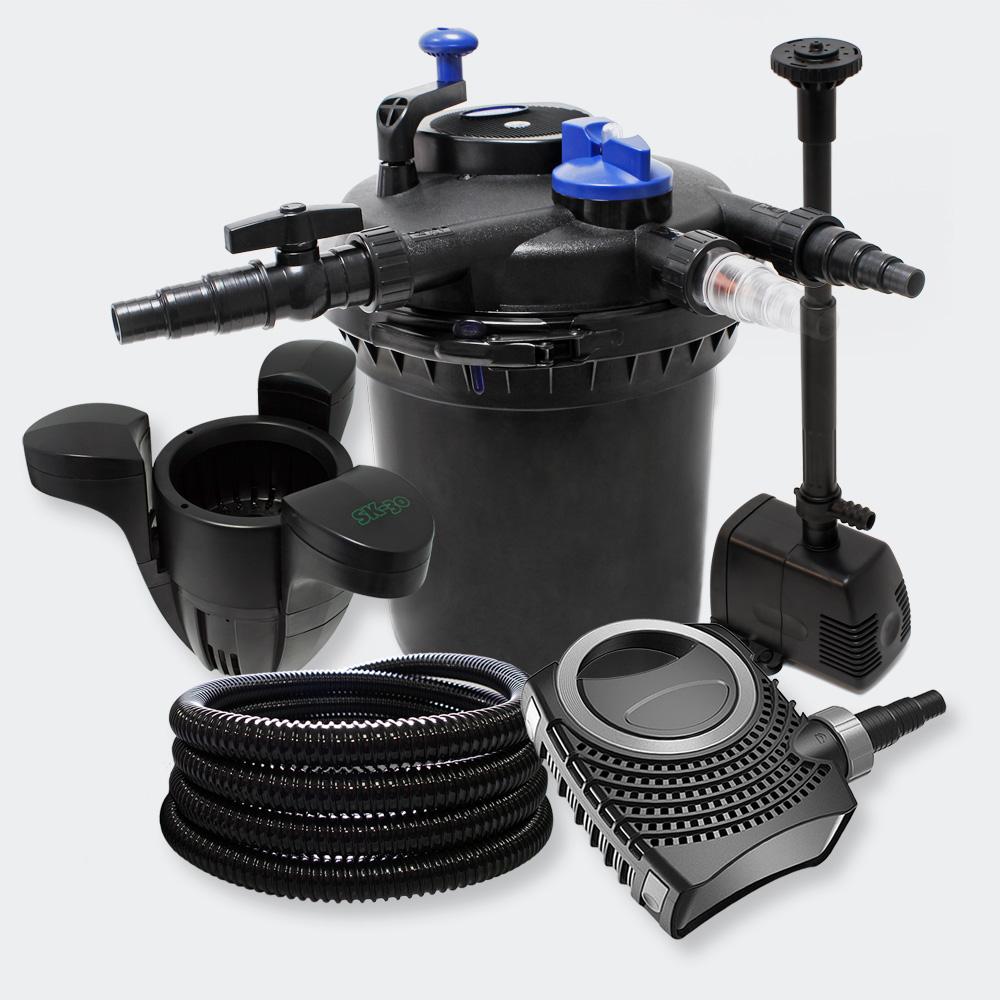 Druckfilter set 30000l 18w uvc kl rer pumpe schlauch for Gartenteich skimmer