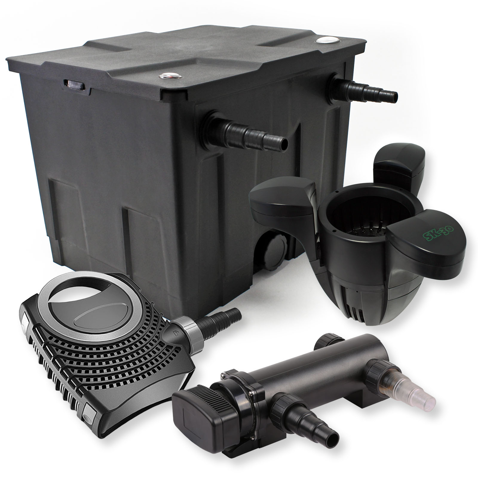 1 kammer filter set 12000l 18w uvc 3er teich kl rer for Gartenteich skimmer