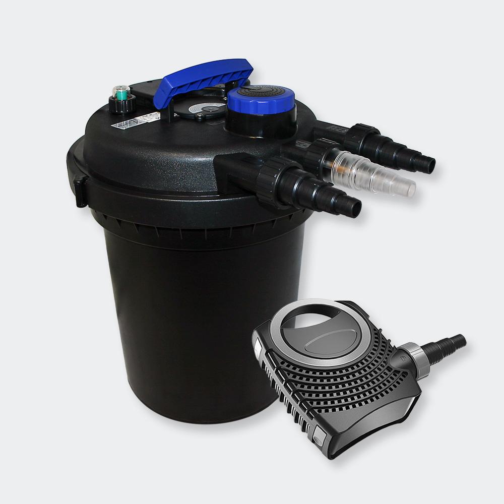 Wiltec set pond pressure filter 10000l 11w uvc for Pond pump and filter sets