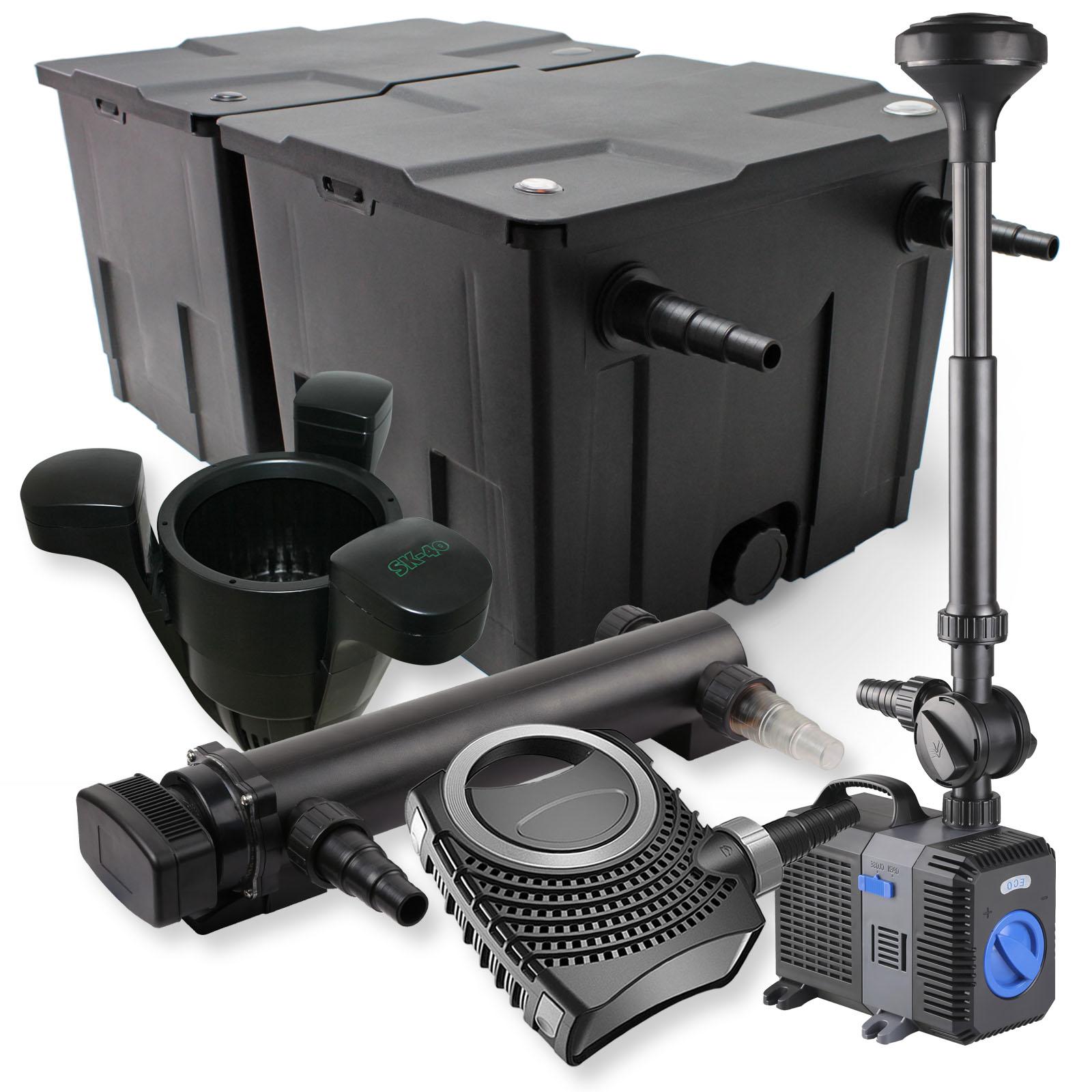 2 kammer filterset 60000l 36w uvc teich kl rer pumpe 70w springbrunnen skimmer ebay. Black Bedroom Furniture Sets. Home Design Ideas