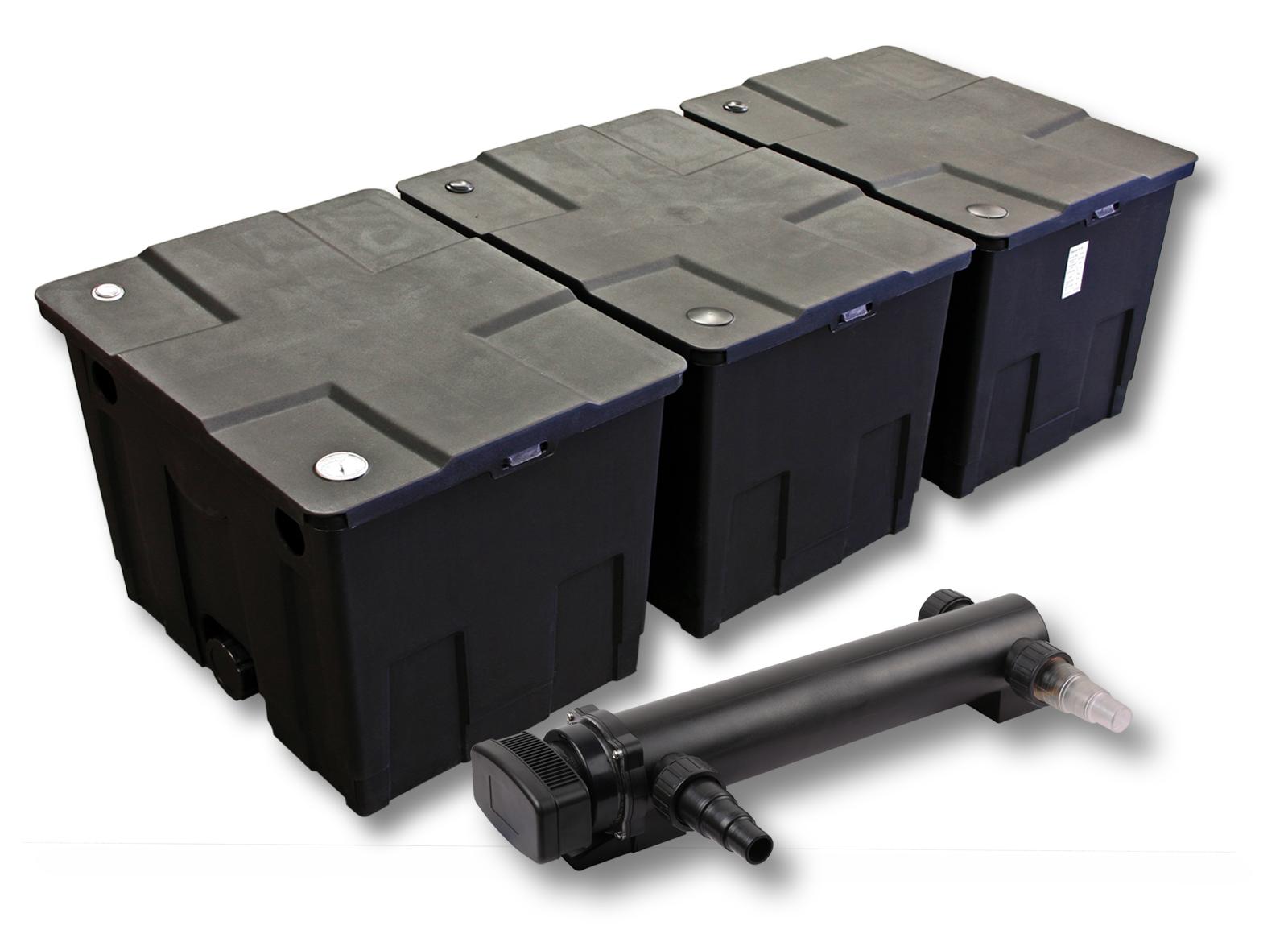 ttteichfilter set 3 kammer filter 90000l 36w uvc kl rer. Black Bedroom Furniture Sets. Home Design Ideas