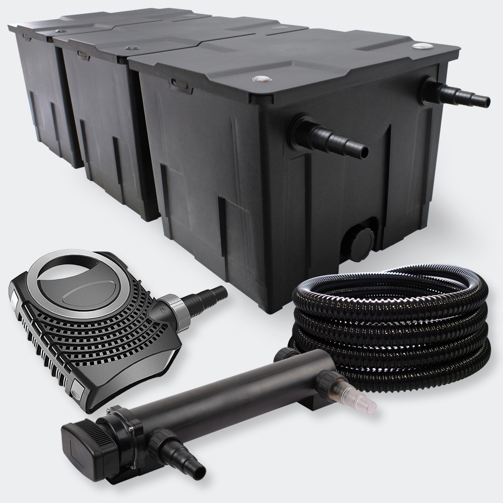 Wiltec filter set 90000l 24w uvc pond clarifier 7000 50w for Set up pond filter system