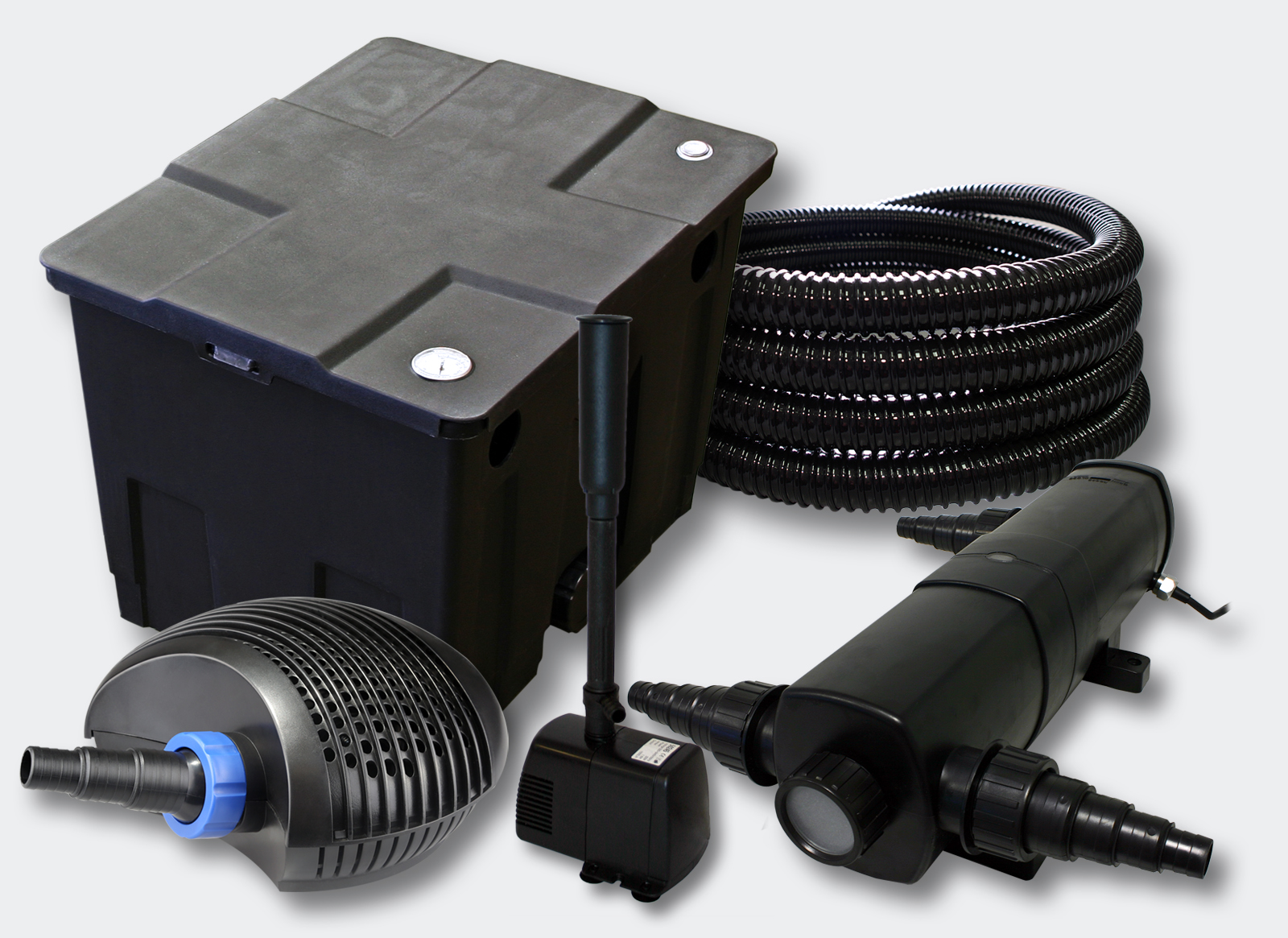 Wiltec filter set 12000l pond 24w pondclarifier 40w pump for Set up pond filter system