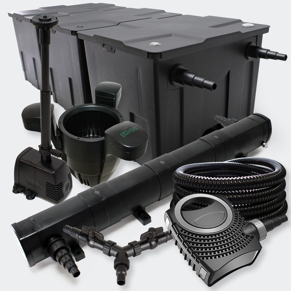 Wiltec kit filtration bassin 90000l 72w uvc 80w pompe for Kit filtration bassin