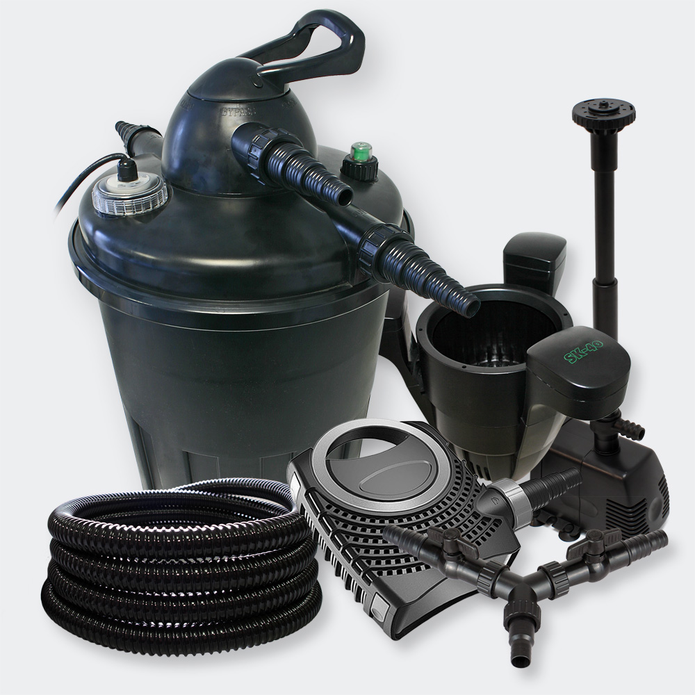 Wiltec jebao pressure pondfilter 15000l 24 uvc 70w pump for Pond filter and fountain