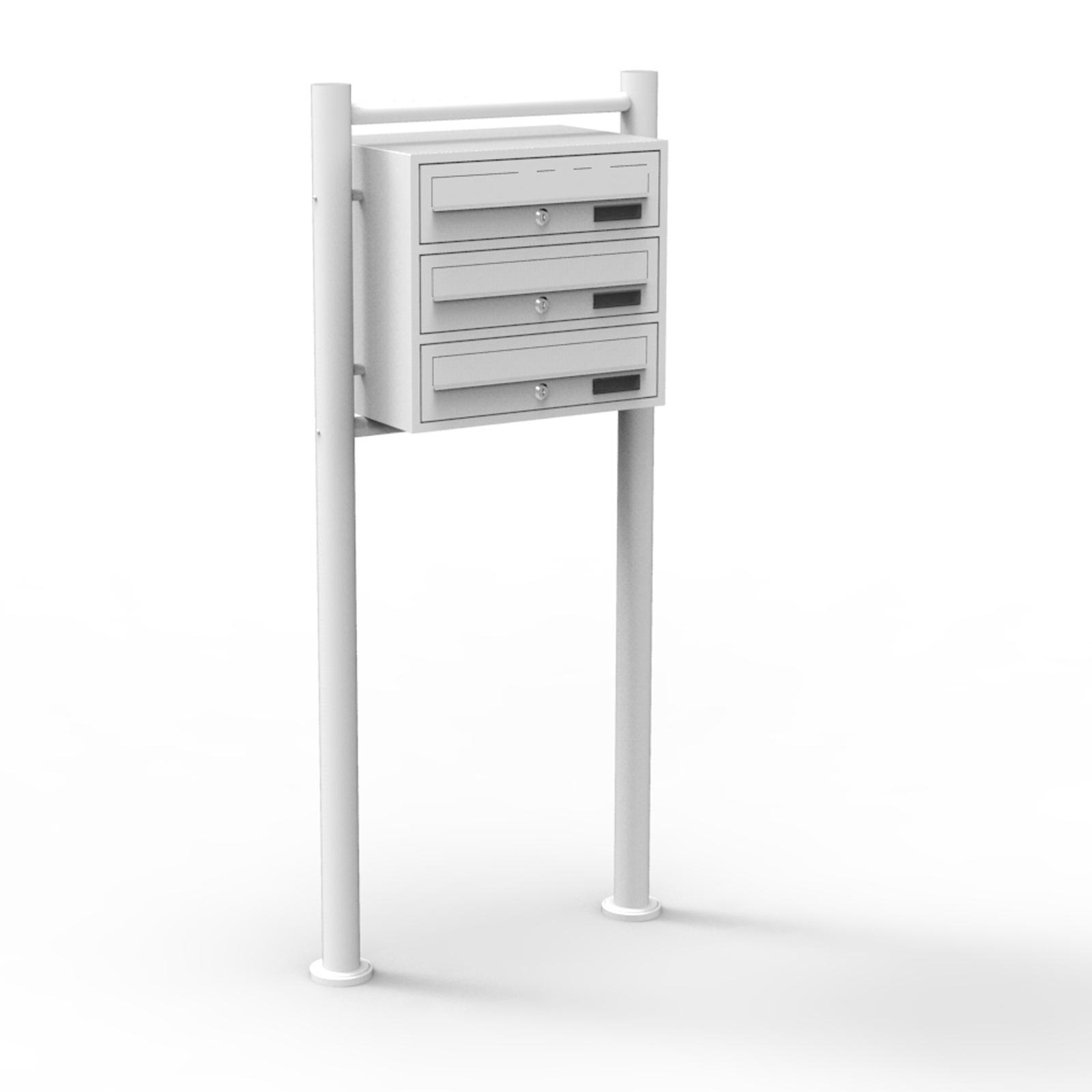 3er briefkastenanlage wei postbox standbriefkasten. Black Bedroom Furniture Sets. Home Design Ideas